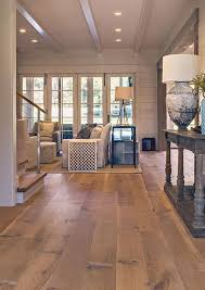 wide plank white oak hardwood floor for a living room