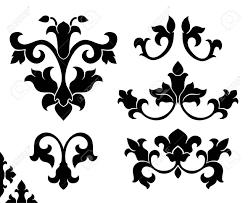Medieval Design Patterns Set Of Classic Design Elements Floral Black Patterns On A White
