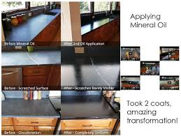 remodel kitchen application. before and after mineral oil application, see impact on scratches un-even color remodel kitchen application o