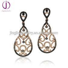 whole turkish jewelry 925 sterling silver long drop two color plated chagne earrings