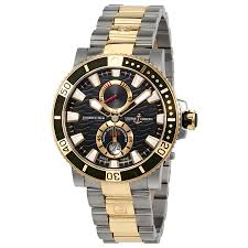 ulysse nardin maxi marine diver automatic men s titanium and 18 ulysse nardin maxi marine diver automatic men s titanium and 18 carat rose gold watch 265