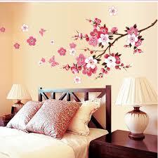 romantic sakura flowers wall stickers home decorations 9053 living bedroom office diy fl decals tv background mural art 4 0