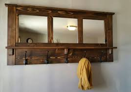 Wall Coat Rack With Mirror Adorable Brown Wooden Wall Coat Shefl And Hanger With Mirror And Having Black