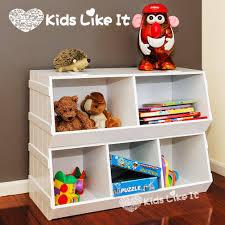 kids stackable white wooden children s toy storage
