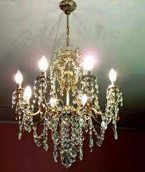 6 arms antique french art nouveau style vintage brass crystal chandelier architectural home office design