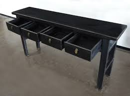 Black sofa table with drawers High Black Console Table With Drawers Mb031b Terra Nova Designs Black Console Sofa Entry Table With Drawers