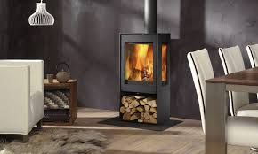 wood heating stove contemporary 3 sided metal kalle