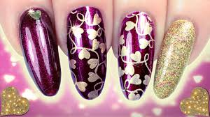 💜VALENTINES NAILS! 💛 PURPLE & GOLD STAMPING HEART NAIL ART ...