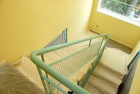use both plastic drop cloths and canvas drop cloths to protect carpeted areas and stairs during