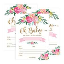 how to word a baby shower invitation 25 cute floral oh baby shower invitations for girls pink blush gold flowers printed write or fill in the blank invite unique custom vintage coed