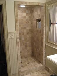 Tiling By Santana (.com) Fox Point- Small but elaborate natural stone walk-in  shower. 4x4 Travertine was used on all walls. Custom niche was created for  ...