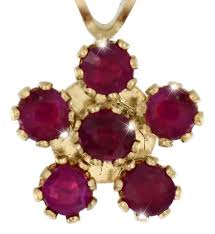 pendant set with 6 authentic rubies