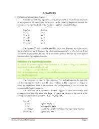 log solve for x math review of school math content page 1 logarithm 1 definition of