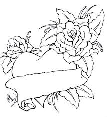 Small Picture Roses And Hearts Coloring Pages Coloring Pages Of A Heart And Rose