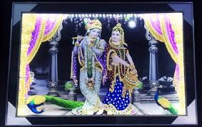 Glass Photo Frames With Lights Kirtan Fabric Radhe Krishna Glass Led Light Photo Frame