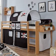 Modelle mit einer geräumigen tischplatte oder einem integrierten schreibtisch, den deine kinder bei bedarf hervorziehen können, sind gut für schulkinder geeignet. Hochbett Kinder Piratenbett In Buche Mit Stoff Ausstattung Schwarz Weiss Ongo