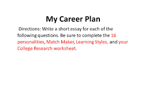 my career plan directions write a short essay for each of the  1 my career