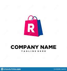 Graphic Letter Design Online Shopping Bag Letter R Logo Template Vector Stock Vector