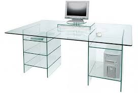 image of clear glass computer desk with shelves