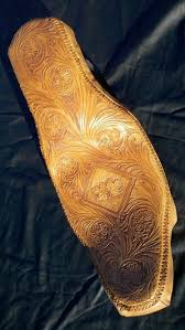 custom made tooled and laced motorcycle seat
