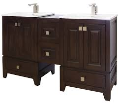 amimage 58 inch double sink transitional bathroom vanity