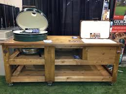 outdoor grill prep station wood