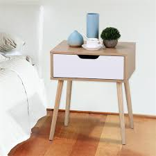 White/<b>Brown</b> Walnut Side End Table <b>Nightstand</b> with Storage ...