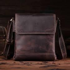 <b>Neweekend Genuine Leather</b> Messenger <b>Bag</b> for Men Crazy Horse ...