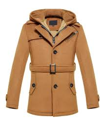 brilliant tan cashmere wool blend hooded pea coat