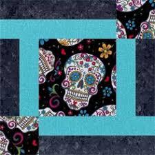 Sugar Skull quilt pattern by Quarter Inch Publishing, featured at ... & Sugar Skulls Blue Festive Pre-Cut Quilt Kit Adamdwight.com