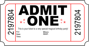 Admit One Template Invitation card for children's party © to owner Invitation 1
