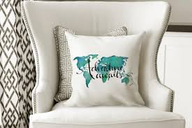 Pillow Quotes Magnificent Throw Pillow Quotes Adventure Awaits Travel Decor Travel Gifts Etsy