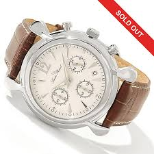 lucien piccard men s 1923 collection chronograph leather strap watch
