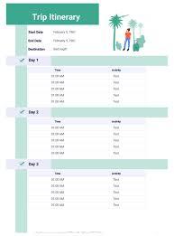 Trip Itinerary Template Pdf Templates Jotform