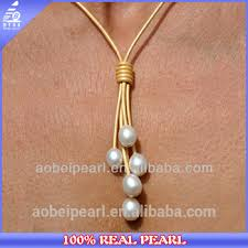 nk 00526 fashion leather cord necklace design pearl jewelry pendants
