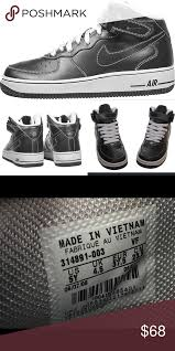 Nike Air Force 1 Mid Black Gray High Top 5 Youth New Without