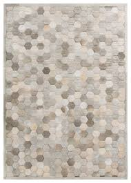 palika global bazaar honeycomb beige gray cowhide rug 2x3