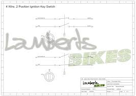 four wire switch diagram ignition switch lamberts bikes 2 position 4 wire ignition switch wiring diagram