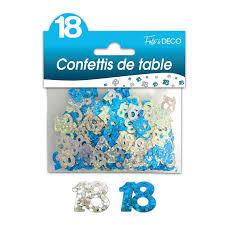 Confettis de table 18 ans Hologramme bleu argent