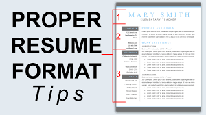 Proper Resume Format 30 Images How To Write A Good Cv