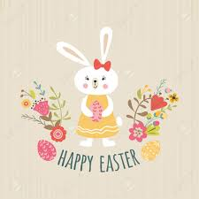 Easter Template Cute Happy Easter Template With Eggs Flowers Girl Rabbit Bunny