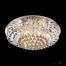 curved crystal prisms and sparkling crystal strands flush mount lights hanging crystal diamonds