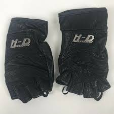 details about harley davidson fingerless leather gloves black womens size xs extra small