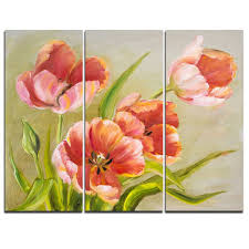 vintage red tulips 3 piece painting print on wrapped canvas set