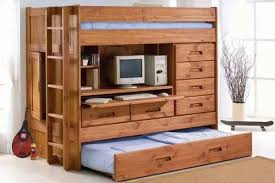 Wooden Bunk Bed With Desk Recous