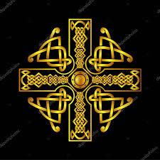 Keltský Kříž Uzel Vzorování Symboly Pro Použití šablonách Vzorky Pro