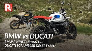 bmw r ninet urban g s vs ducati scrambler desert sled
