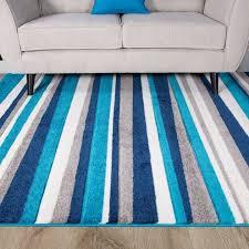 now teal blue color stripe stripey striped lines design living room floor rug 5 3 x 7 7