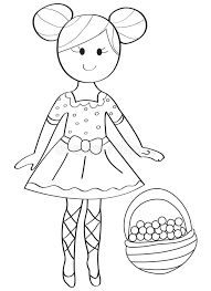Small Picture Hand Drawn Coloring Page Of A Ballerina Girl With A Fruit Basket