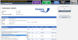po tracker purchase order template excel po generator tracker tool